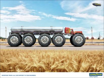 Реклама шин Goodyear для грузовиков