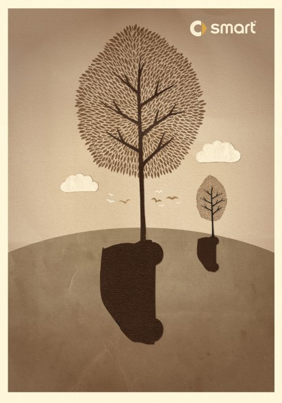 Реклама автомобиля Smart: Дерево