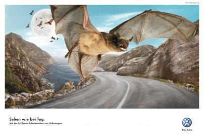Реклама Bi-Xenon фонарей от Volkswagen: Летучая мышь