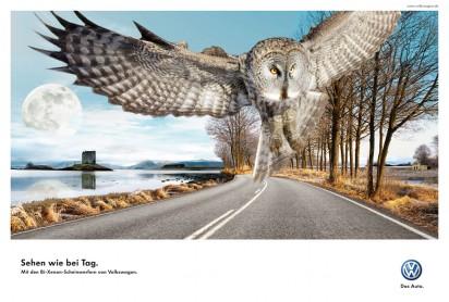 Реклама Bi-Xenon фонарей от Volkswagen: Сова