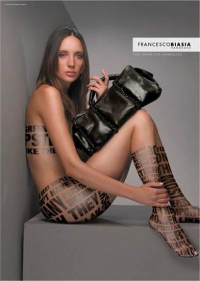 Реклама дизайнерских сумок от Francesco Biasia