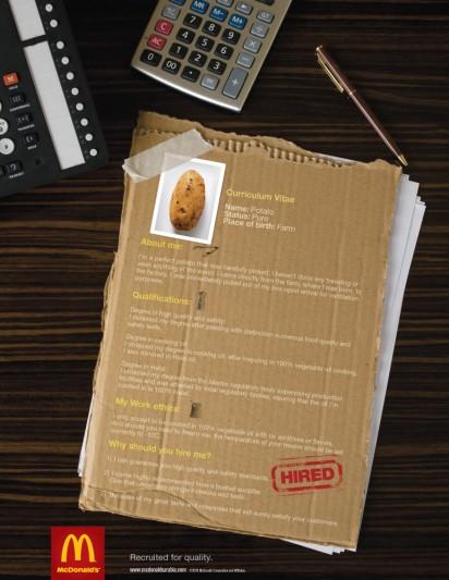 Реклама McDonald's: Картошка