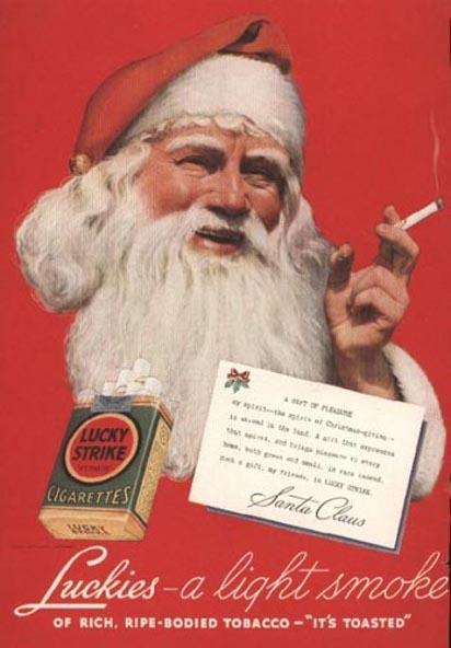 Дед Мороз рекламирует сигареты