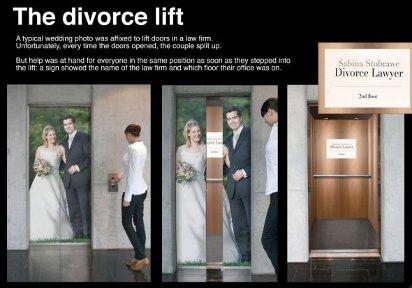Реклама разводов в лифте