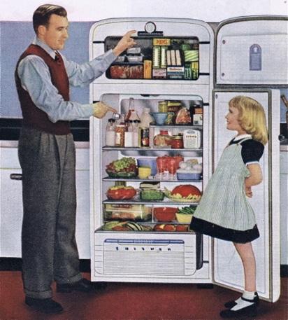 Отец хвастается холодильником