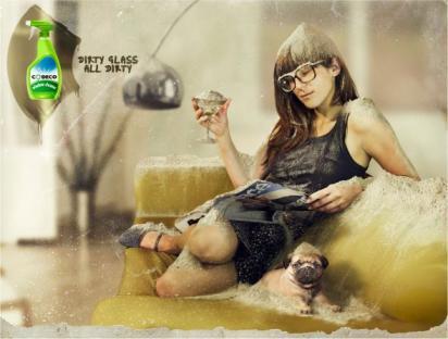 Реклама средства для мытья окон