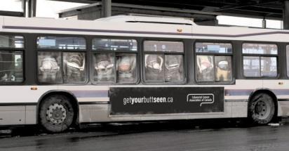 Реклама против рака на автобусе