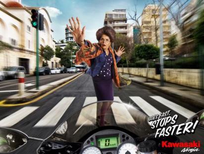 Креативная реклама мотоцикла
