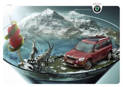 Креативная реклама автомобиля Шкода