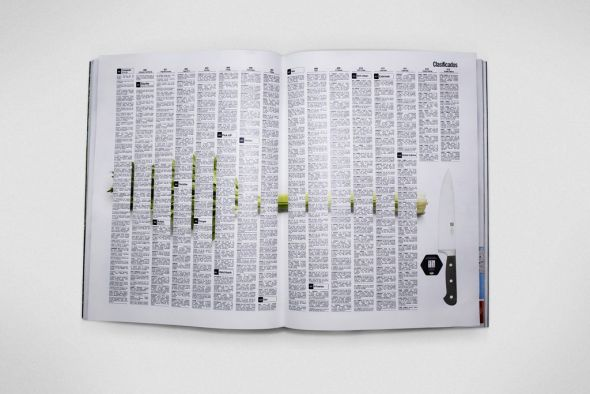 Реклама ножа в журнале