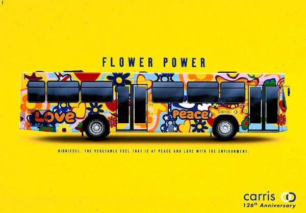 Яркий автобус в рекламе