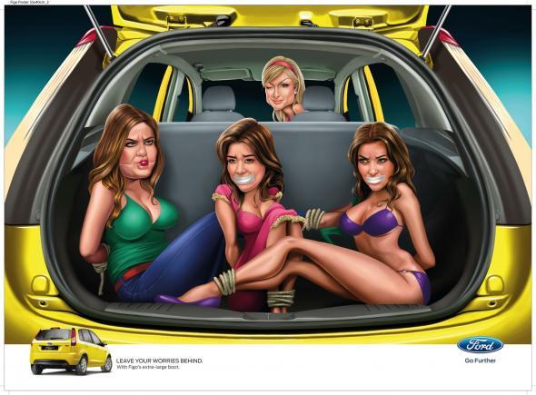 Большой багажник в автомобиле Форд