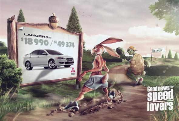 Креативная реклама Mitsubishi Lancer